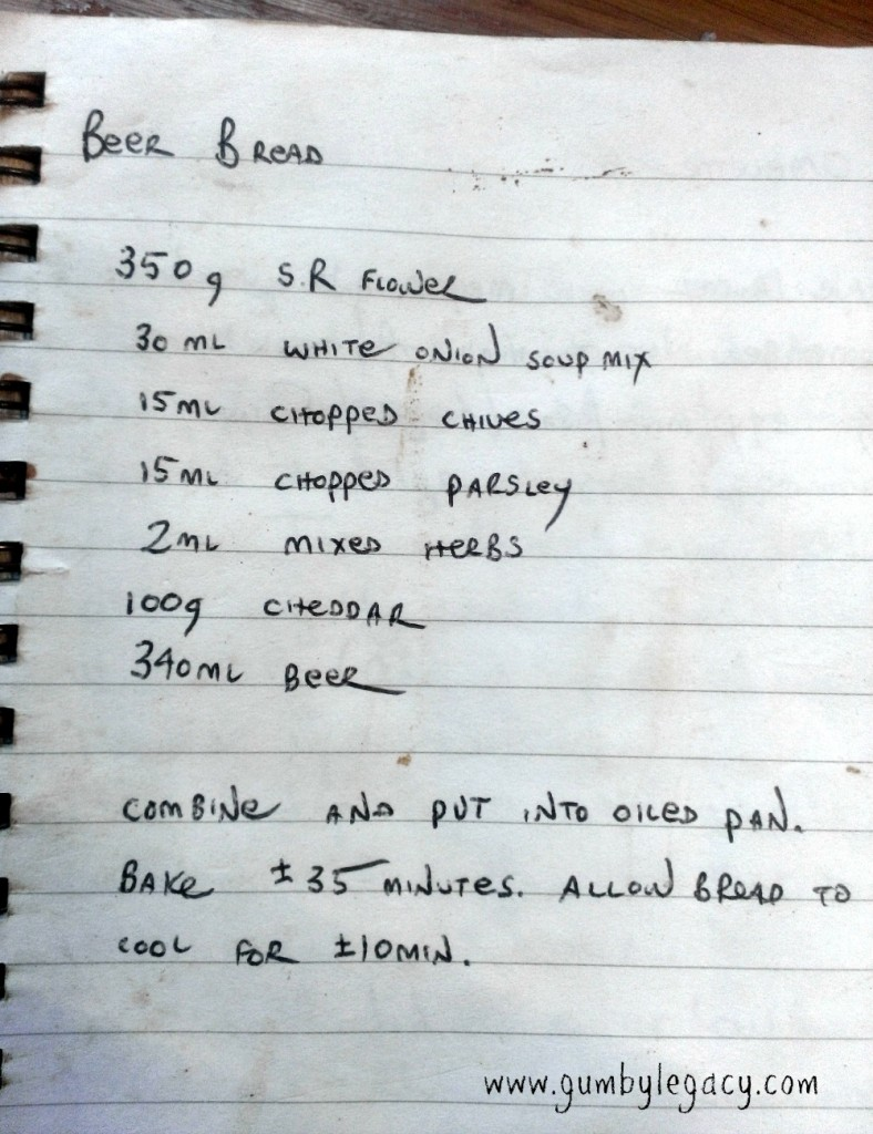 Recipe for beer bread as made by Gumby