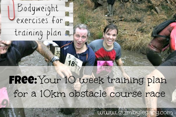 Bodyweight exercises for 10 week training plan for 10km obstacle course