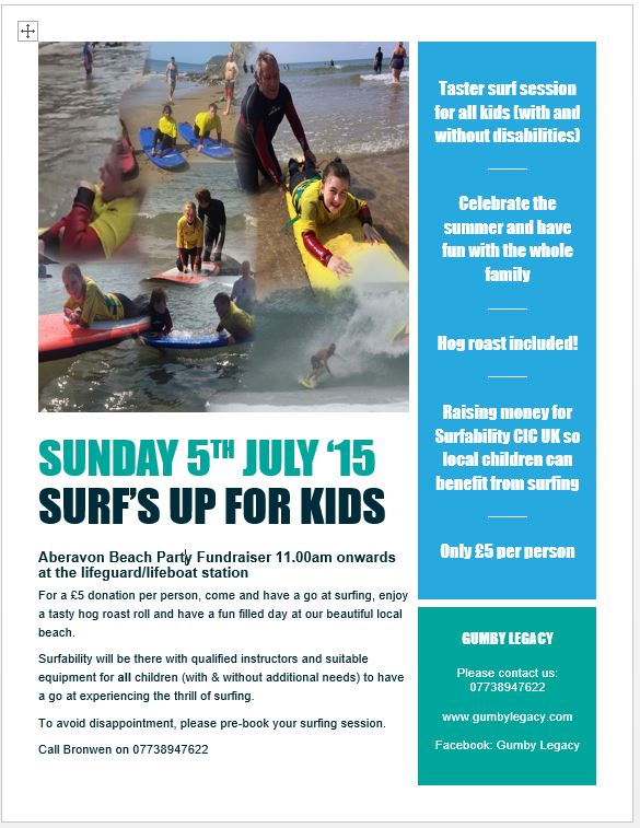 Gumby Legacy surfing fundraiser to raise money for kids with disabilities to access therapeutic surfing